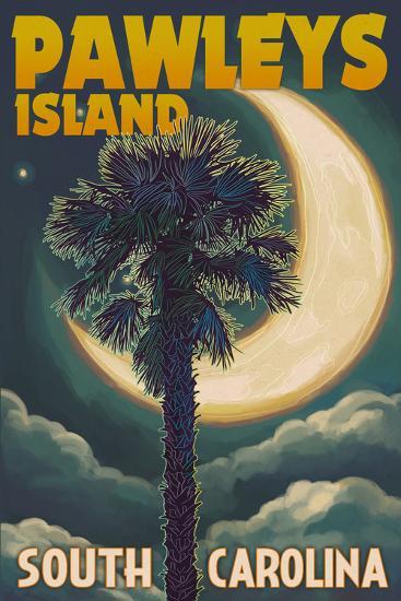 Pawleys Island, South Carolina - Palmetto Moon and Palm-Lantern Press-Wall Mural