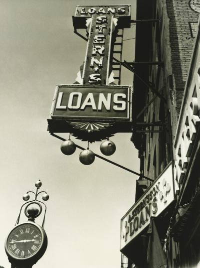 Pawnbrokers Signs Outside Shop, Low Angle View-George Marks-Photographic Print