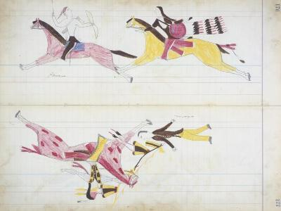 Pawnee Chased by Cheyenne and a White Man Killed by Crooked Lance from the 'Black Horse Ledger'--Giclee Print