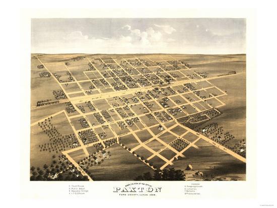 Paxton, Illinois - Panoramic Map-Lantern Press-Art Print