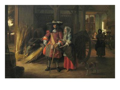 Paying the Hostess-Pieter de Hooch-Art Print
