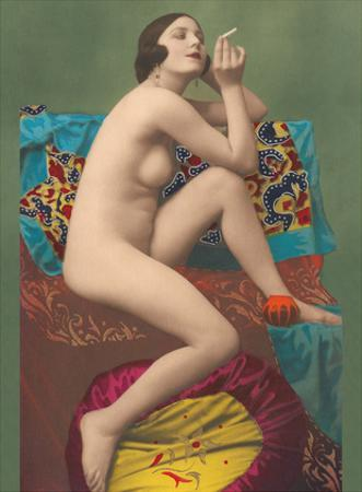Le Fumeur (The Smoker) - Classic Vintage French Nude - Hand-Colored Tinted Erotic Art