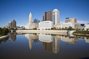 Columbus, Ohio Skyline Reflected in the Scioto River.  Columbus is the Capital of Ohio by pdb1