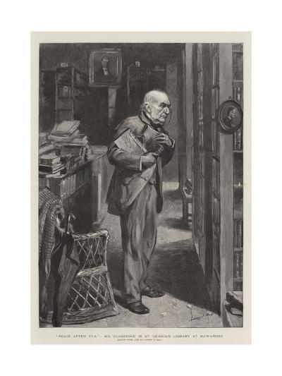 Peace after Toil, Mr Gladstone in St Deiniol's Library at Hawarden-Sydney Prior Hall-Giclee Print