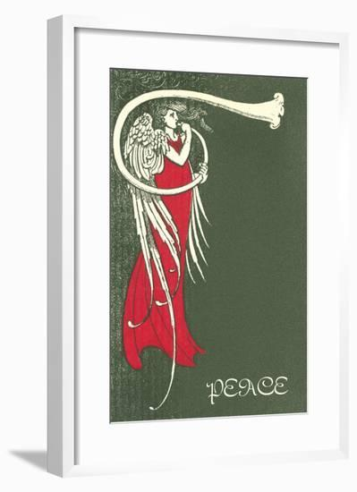 Peace, Angel Blowing Trumpet--Framed Art Print
