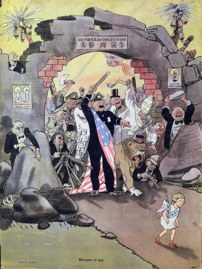 Peace Banished from the Paradise of the Marshall Plan, Caricature from 'Krokodil', C.1950--Giclee Print