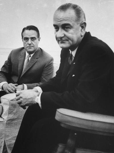 Peace Corp. Head Sargent R. Shriver Jr. and President Lyndon B. Johnson-John Dominis-Photographic Print