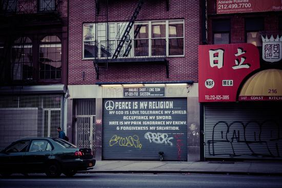 Peace is my religion, Religion in a modern world, Street Art, Steetview, Manhattan, New York, USA-Andrea Lang-Photographic Print