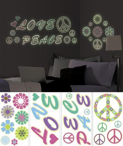 Peace Love Flowers Wall Decal Sticker Appliques--Wall Decal