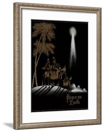 Peace on Earth, Gold Magi on Black--Framed Art Print