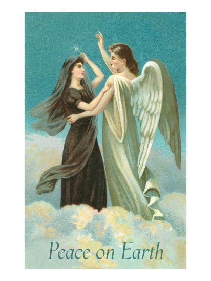 Peace on Earth, Lady with Angel on Clouds--Art Print