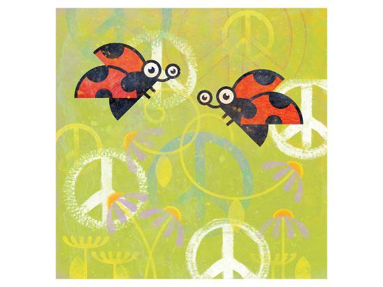 Peace Sign Ladybugs III-Alan Hopfensperger-Art Print