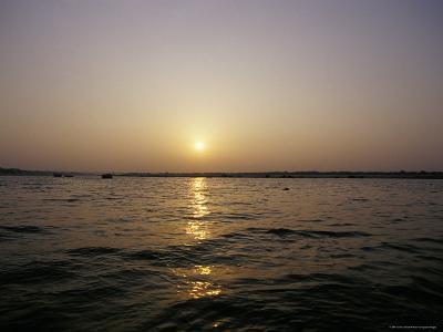 Peaceful Scene of the Holy Ganges River Aka the Ganga River at Dawn-Jason Edwards-Photographic Print