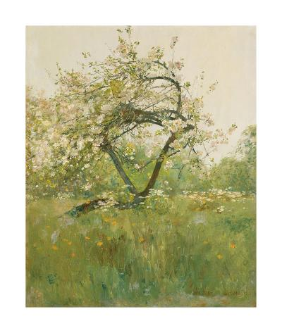 Peach Blossoms - Villiers-le-Bel-Frederick Childe Hassam-Premium Giclee Print