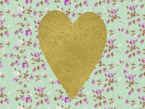 Gold Heart on Mint Floral by Peach & Gold