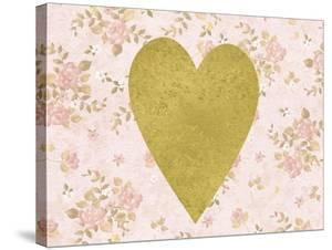 Gold Heart on Pink Floral by Peach & Gold