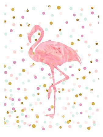 Pink Flamingo on Confetti