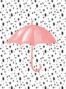 Pink Umbrella on Polka Dots by Peach & Gold