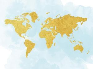World Map 3 by Peach & Gold