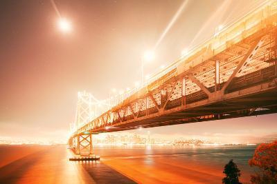 Peach Light Fantastic Cityscape at San Francisco Bay Bridge-Vincent James-Photographic Print