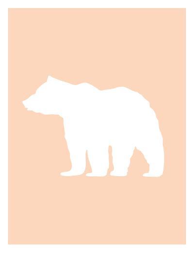 Peach White Bear-Jetty Printables-Art Print