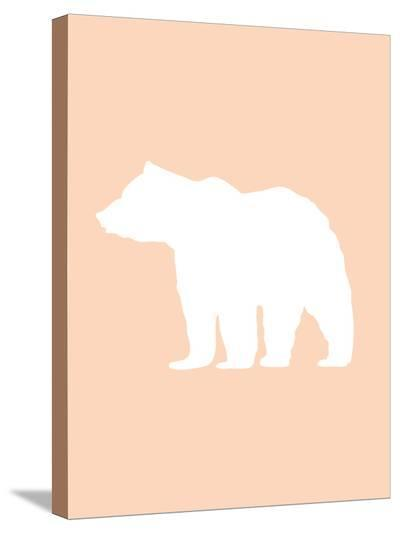 Peach White Bear-Jetty Printables-Stretched Canvas Print