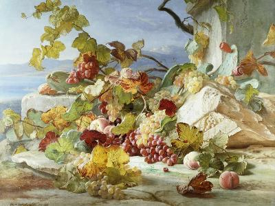 Peaches and Grapes in a Rocky Landscape-Theude Gronland-Giclee Print