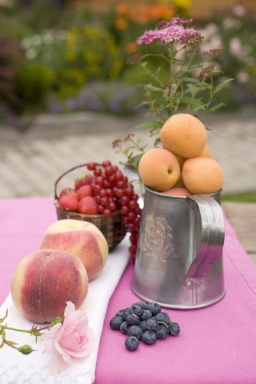 Peaches, Apricots and Fresh Berries on Table Out of Doors-Foodcollection-Photographic Print