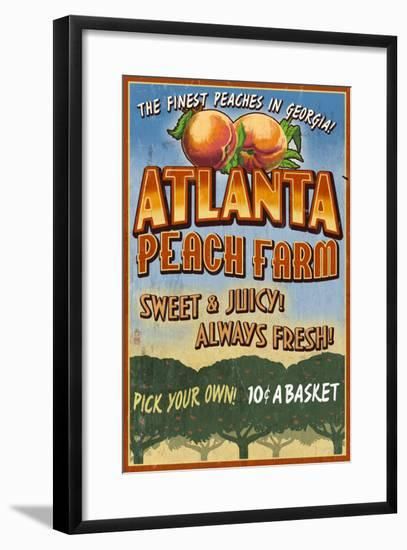 Peaches - Atlanta, Georgia-Lantern Press-Framed Art Print
