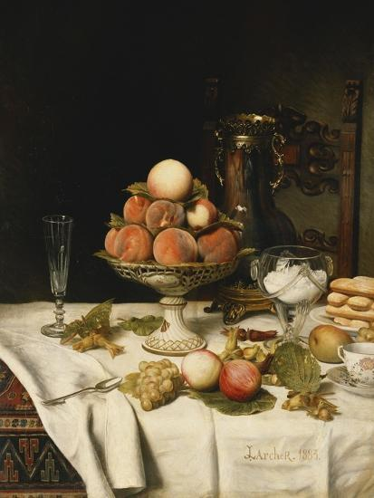 Peaches in a Dresden Tazza, Grapes, Apples, Hazelnuts and Biscuits on a Draped Table-Jules		 Larcher-Giclee Print