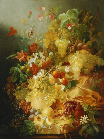 Peaches, Melons and Grapes with Sweet Peas and Poppies on a Stone Ledge-Jan Waarden-Giclee Print
