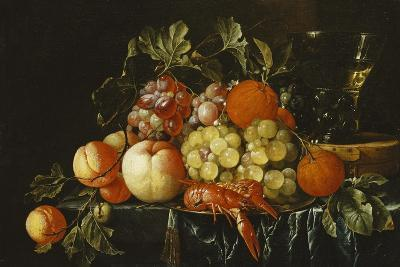 Peaches, Oranges, Grapes and Langoustines on a Pewter Plate and a Conical Roemer on a Box on a…-Cornelis De Heem-Giclee Print