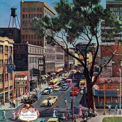 """Peachtree Street,"" June 25, 1960-John Falter-Premium Giclee Print"