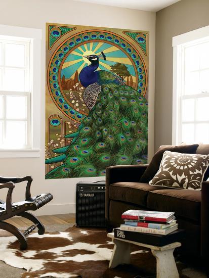 Peacock - Art Nouveau-Lantern Press-Wall Mural