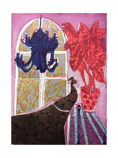Peacock At Night With Pink Light, 2017-Rose Electra Harris-Giclee Print