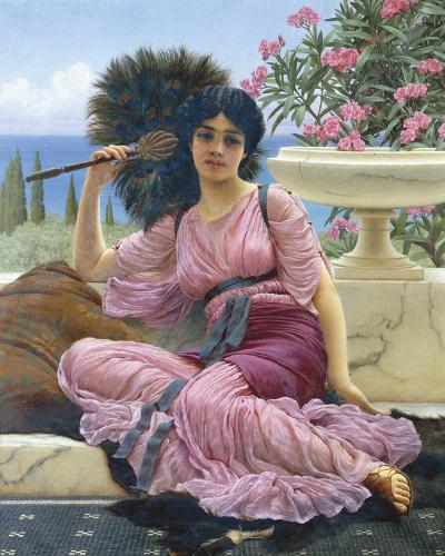 Peacock Fan-John William Godward-Giclee Print