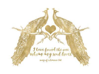 Peacock Pair Solomon3 4 Golden White-Amy Brinkman-Art Print