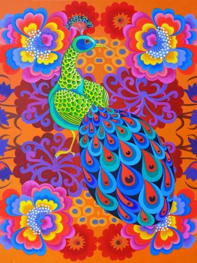Peacock with Flowers, 2015-Jane Tattersfield-Giclee Print