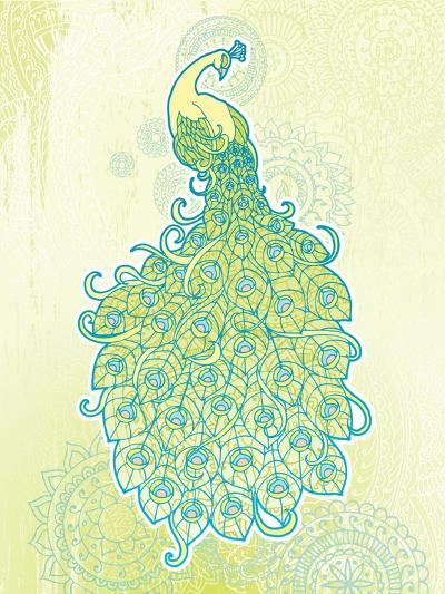 Peacock with Tail Feathers in Front of Detailed Background-artplay-Art Print