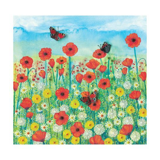 Peacocks and Poppies-Jo Grundy-Giclee Print