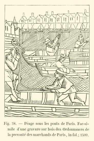 Peage Sous Les Ponts De Paris--Giclee Print