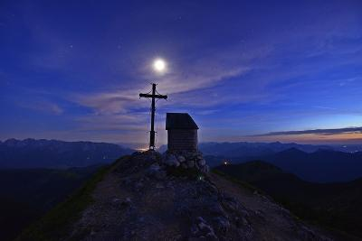 Peak Cross and Chapel at Geigelstein Mountain, Dusk with Full Moon-Stefan Sassenrath-Photographic Print