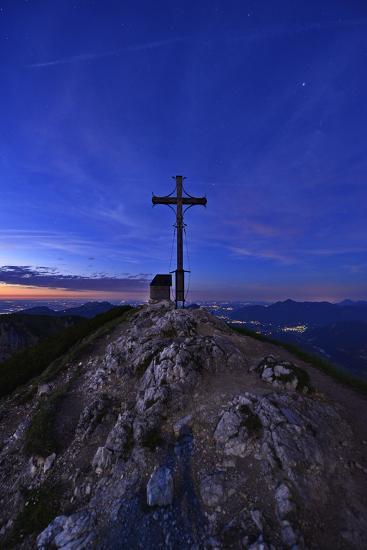 Peak Cross and Chapel at Geigelstein Mountain, Dusk-Stefan Sassenrath-Photographic Print