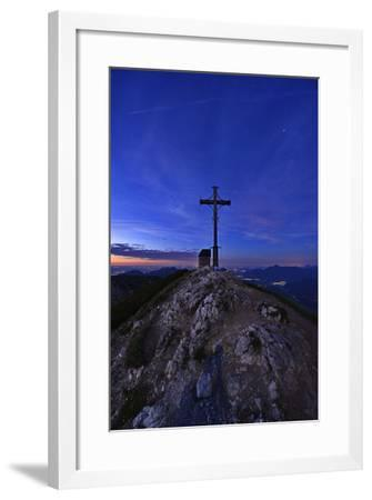 Peak Cross and Chapel at Geigelstein Mountain, Dusk-Stefan Sassenrath-Framed Photographic Print