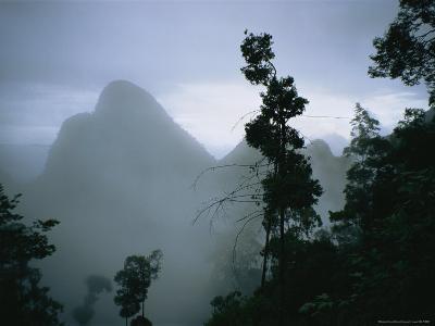 Peak of Gunung Budda Through Early Morning Fog-Stephen Alvarez-Photographic Print