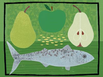 Pear, Apple and Fish-Jessie Ford-Art Print