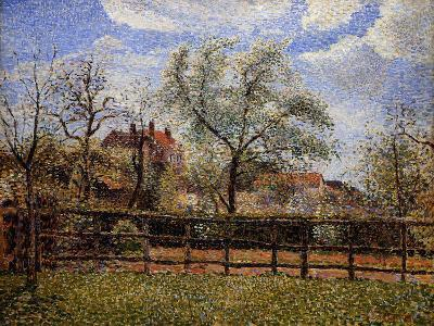 Pear Tree and Flowers in Eragny, Morning-Camille Pissarro-Giclee Print