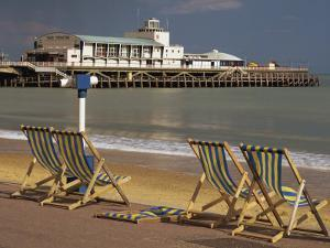 Deserted Beach and Pier Theatre, West Cliff, Bournemouth, Dorset, England, UK by Pearl Bucknall