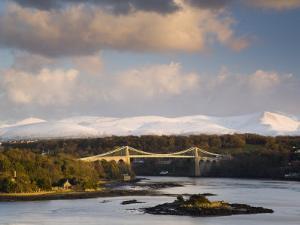 Menai Suspension Bridge Built by Thomas Telford in 1826, Anglesey, North Wales, UK by Pearl Bucknall
