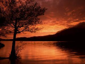 Red Sky at Sunset, Coniston Water, Consiton, Lake District, Cumbria, England, United Kingdom by Pearl Bucknall